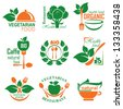 set vector labels and emblems of health and vegetarian food - stock vector