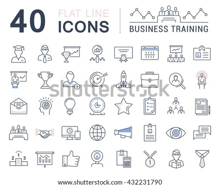 Set vector line icons in flat design business training and development, training course, business meeting with elements for mobile concepts and web apps. Collection modern infographic logo and sign. - stock vector