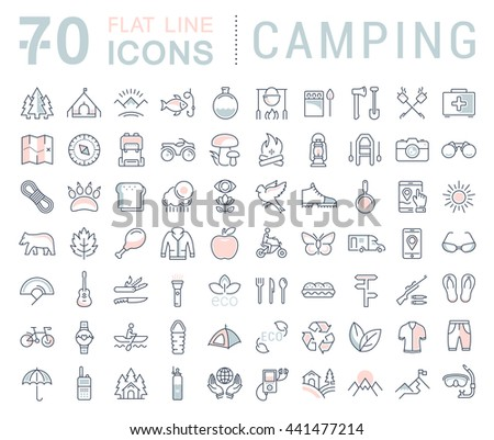 Set vector line icons in flat design camping, eco and ecotourism with elements for mobile concepts and web apps. Collection modern infographic logo and pictogram. - stock vector