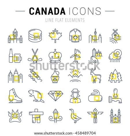 Set vector line icons in flat design Canada, North America and architecture with elements for mobile concepts and web apps. Collection modern infographic logo and pictogram.