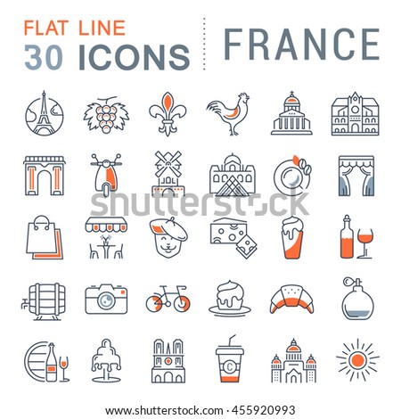 Set vector line icons in flat design France, Paris and Europe with elements for mobile concepts and web apps. Collection modern infographic logo and pictogram.