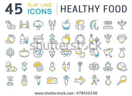 Set vector line icons in flat design Healthy Food with elements for mobile concepts and web apps. Collection modern infographic logo and pictogram.