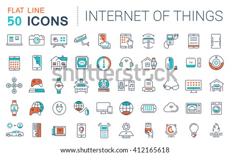Set vector line icons in flat design internet of things and smart gadgets with elements for mobile concepts and web apps. Collection modern infographic logo and pictogram. - stock vector