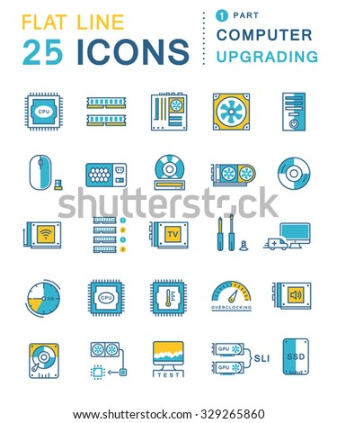 Set vector line icons in flat design upgrading computer and hardware, overclocking, cooling, test cpu and gpu with elements for mobile concepts and web apps. Collection modern infographic pictogram - stock vector