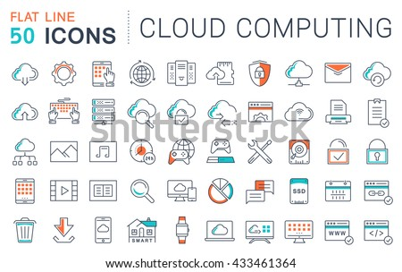 Set vector line icons in flat design with elements cloud computing for mobile concepts and web apps. Collection modern infographic logo and pictogram. - stock vector