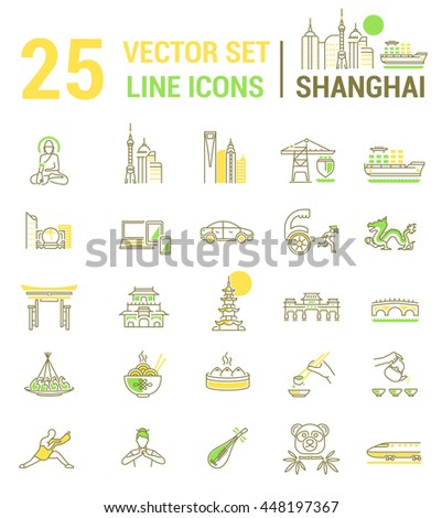Set vector line icons in flat design with Shanghai elements for mobile concepts and web apps. Collection modern infographic logo and pictogram.