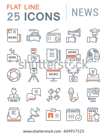 Set vector line icons, sign and symbols in flat design news with elements for mobile concepts and web apps. Collection modern infographic logo and pictogram.
