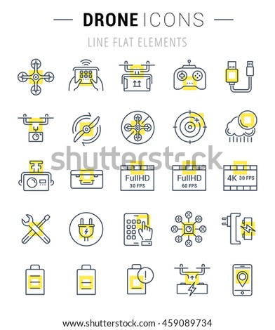 Set vector line icons with open path drones and flying gadgets with elements for mobile concepts and web apps. Collection modern infographic  pictograms