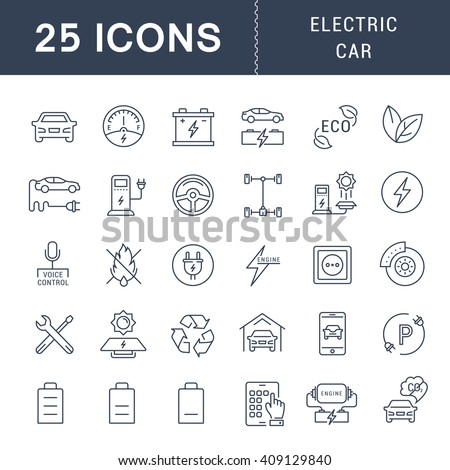 Set vector line icons with open path electric cars and eco transport with elements for mobile concepts and web apps. Collection modern infographic logo and pictogram - stock vector