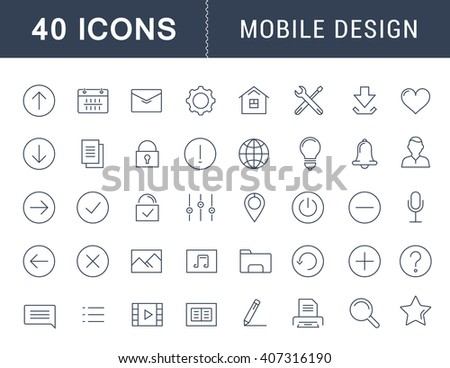 Set vector line icons with open path mobile design and development with elements for mobile concepts and web apps. Collection modern infographic logo and pictogram. - stock vector