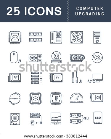 Set vector line icons with open path upgrading computer and hardware, overclocking, cooling, test cpu and gpu with elements for mobile concepts and web apps. Collection modern infographic logo - stock vector