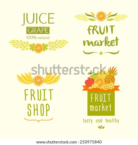 Set vector logo for a store of fruits, fruit juice labels. Guaranteed quality and fresh fruit. Juice label - stock vector