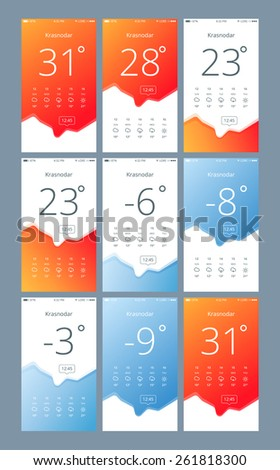set vector phone interface with the weather. 100% vector shape.  Fully editable Only free fonts were used. - stock vector
