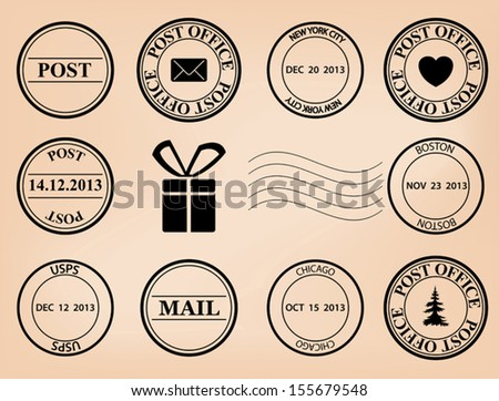 set - vector post stamps. Eps 8. - stock vector