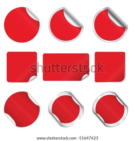 Set vector red stickers - stock vector