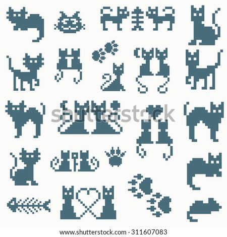 Set vector retro pixel cat