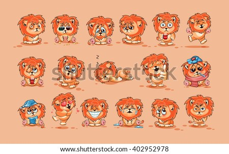 Set Vector Stock Illustrations isolated Emoji character cartoon Lion cub sticker emoticons with different emotions for site, infographics, video, animation, website, e-mail, newsletter, report, comic