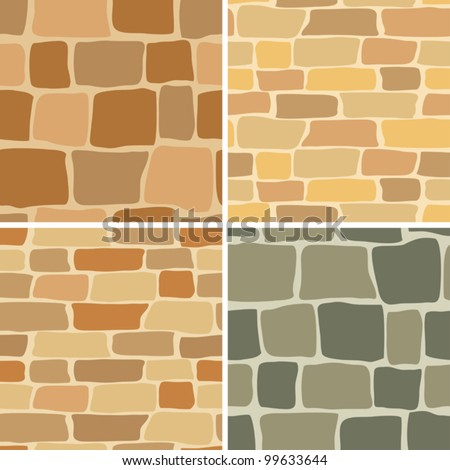set - vector stone wall - seamless patterns - stock vector