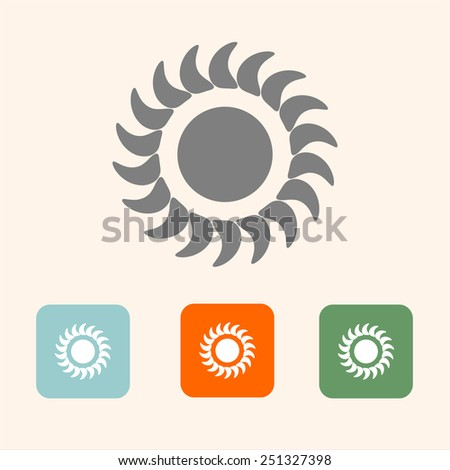 Set vector sun icons. Flat design style - stock vector