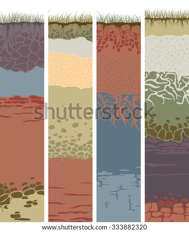 Set vector vertical banners with cut of soil (profile) with a grass, roots, layers of the earth, clay and stones (Vector illustration). - stock vector