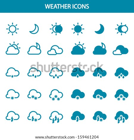 Set vector weather icons - stock vector