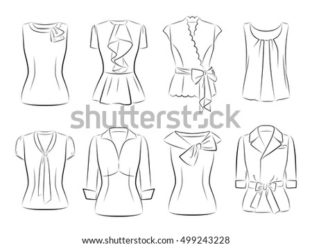 Set  vector women fashionable blouses