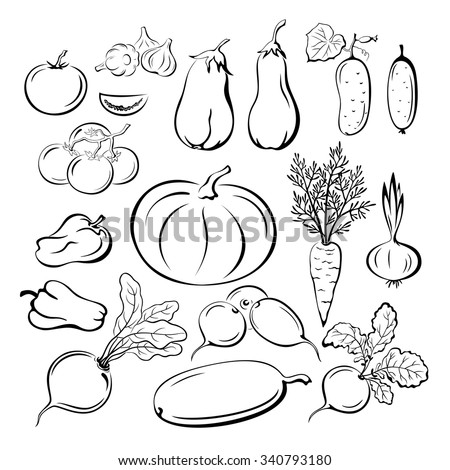 Set Vegetables, Black Outline Pictograms Isolated on White Background. Vector