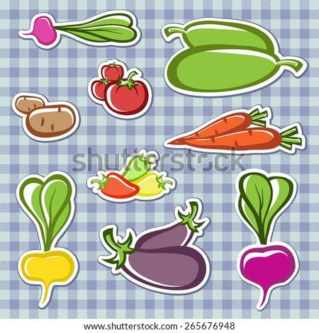 Set vegetables  in the vector. - stock vector
