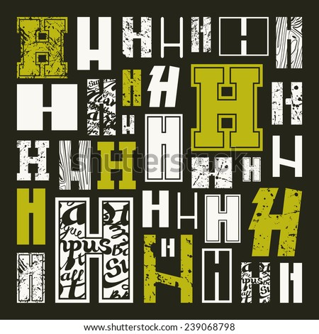 h alphabet in style  Set versions of letters H