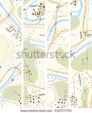 Set vertical banner of detailed topographic map of territory with rivers, forests, settlements, roads, communication lines with titles.