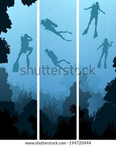 Set vertical banners of scuba divers under water among coral in cave. - stock vector
