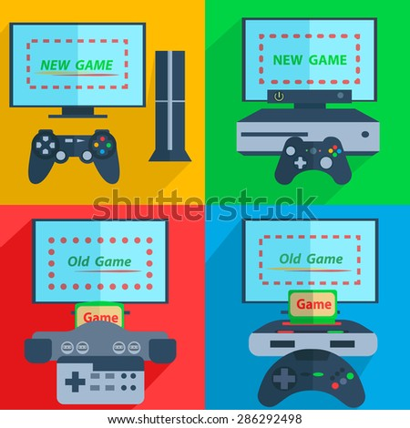 Set video game consoles with joysticks and the screen on colorful background is ready for the game. Vector Illustration - stock vector