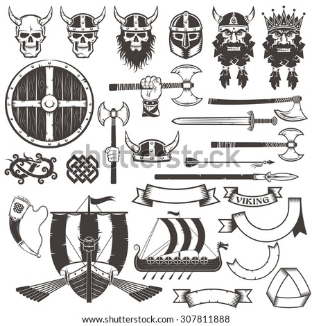 Set Viking items. Skull, horned helmet, face of warrior, shield, ax, sword, arrow, spear, dragon, ribbons, banners, horn, Drakkar. - stock vector