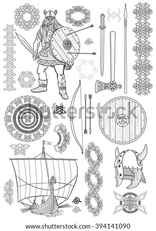 Set Viking life. Man Viking, rowing boat, sword, helmet, ax, spear, bow, arrows, shield, pattern, ornament. Sketch. Vector illustration. - stock vector