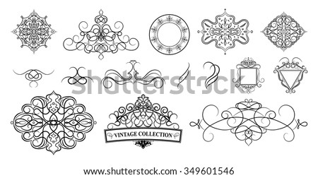 Set Vintage Borders Frame Rosette Decoration Stock Vector
