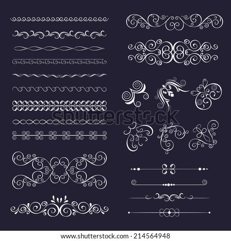 Set vintage decorative frames, borders, corner for design frameworks and banners. Can use for birthday card, wedding invitations. - stock vector