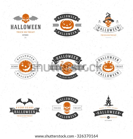 Set Vintage Happy Halloween Badges and Labels, Greetings Cards vector design elements - stock vector