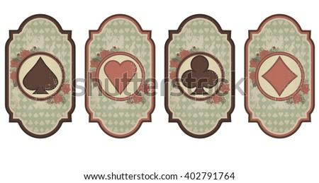 Set vintage poker cards, vector illustration - stock vector