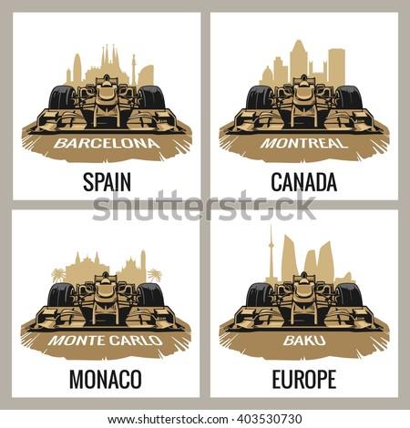 Set vintage poster Grand Prix Formula one. Barcelona, Spain, Montreal, Canada, Monte Carlo, Monaco, Baku, Europe. Vector illustration for logotype, web - stock vector