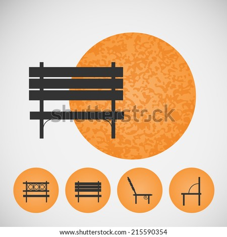 Set vintage street bench on colored backgrounds  - stock vector