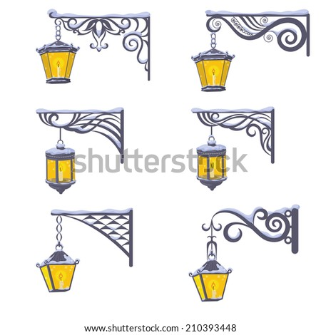 Set vintage street luminescent lanterns covered with snow, hanging on a decorative brackets isolated on white background. Vector - stock vector