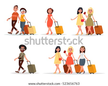 Set walking airplane passengers. Man, woman, friends with luggage on an isolated background. Vector illustration in cartoon style