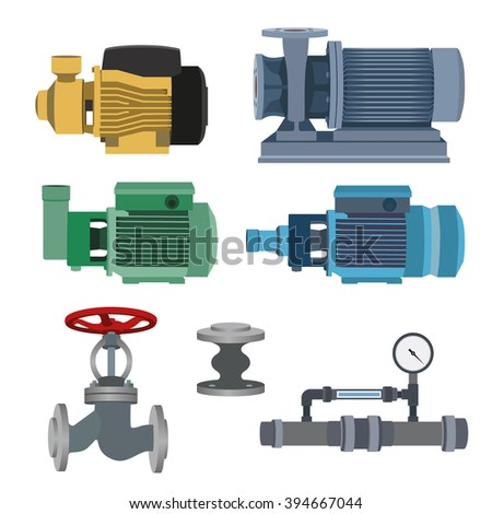 Set - water motor, pump and valves for pipeline. Vector illustration - stock vector