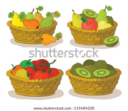 Set wattled baskets with fruits and vegetables: pears, apples, tomatoes and kiwifruits. Vector,