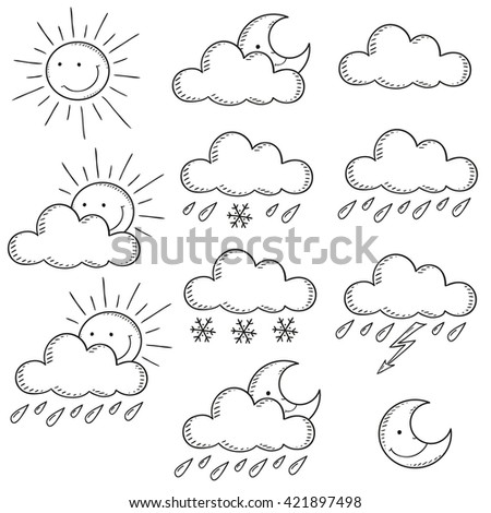 Set weather icons. Doodle vector illustration  contour