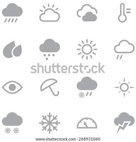 Set weather icons for web and mobile applications. Neutral gray color is ideal for any design. - stock vector