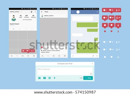 Set web applications and Icon for social network. Notification icons flat vector illustration EPS 10.