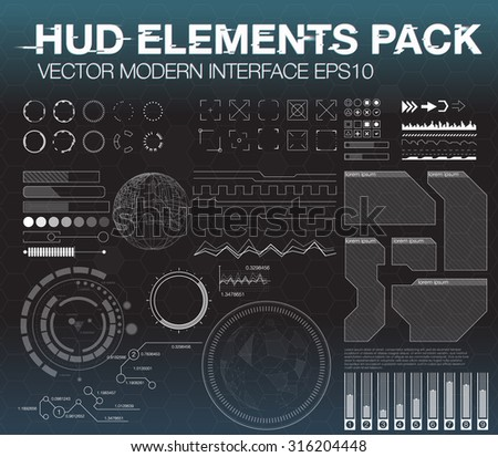 Set web elements in HUD style. Infographic elements. futuristic user interface HUD UI UX.  Elements for app HUD design. - stock vector