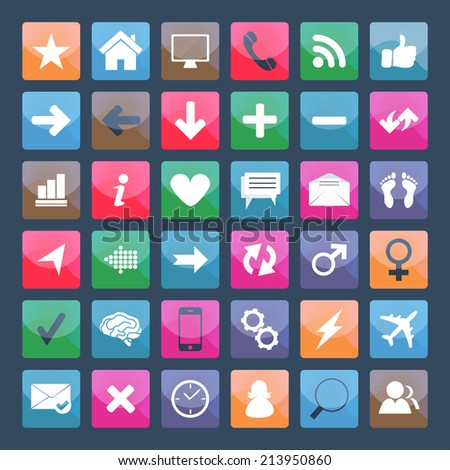 Set web icons, square. Vector format. - stock vector