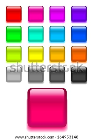 Set web shiny glass buttons. Vector